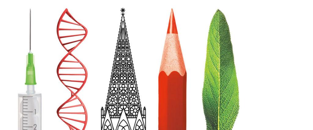 Symbole Wissenschaftsmarkt: Spritze, DNA, Münster, Stift, Blatt